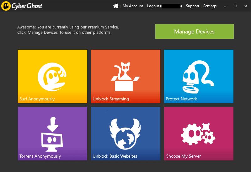 Cyberghost Software (Main screen UI)
