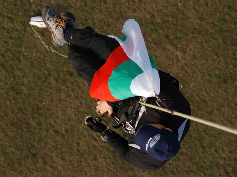 Hot Air Ballooning with the Bulgarian flag