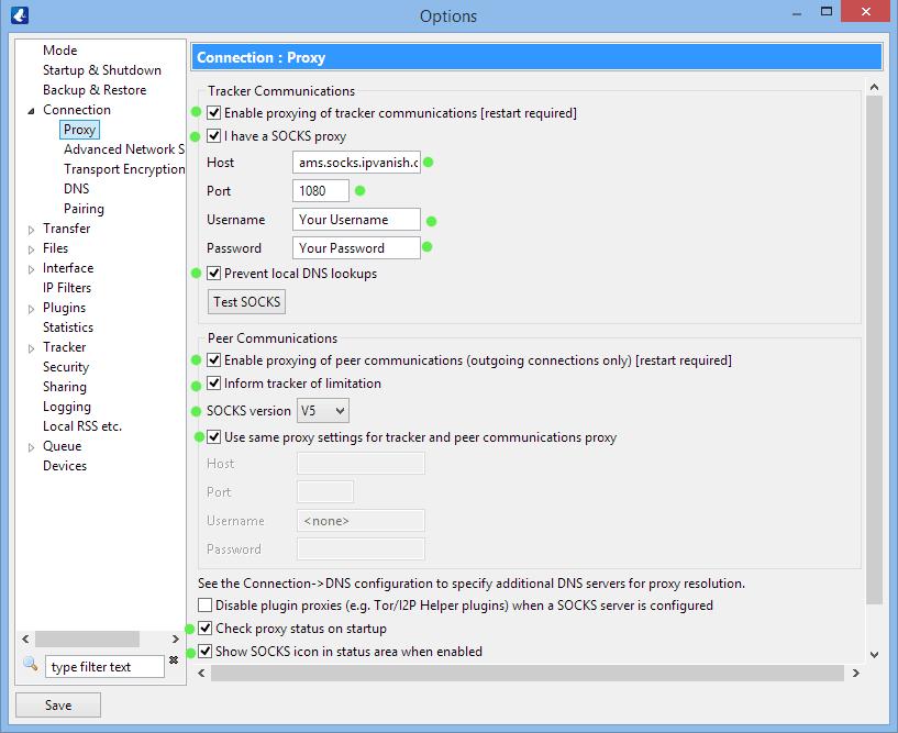 IPVanish Socks5 proxy settings in Vuze