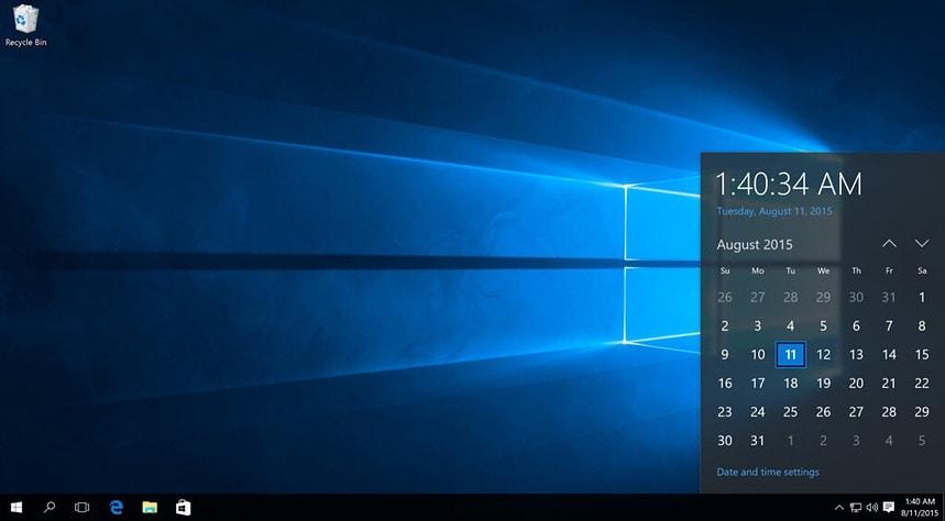 De Window 10 desktop.