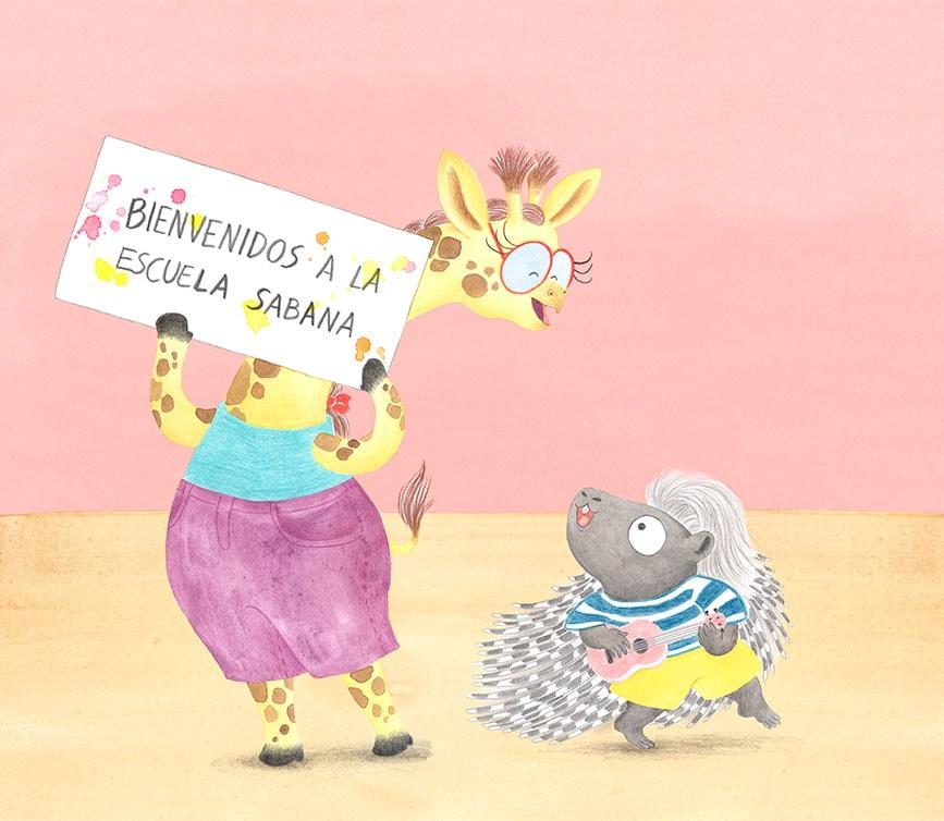 Julia & Paco, Beascoa, Begoña Oro, ilustración de animales, ilustración infantil, ilustración de animales africanos, Escuela Sabana,