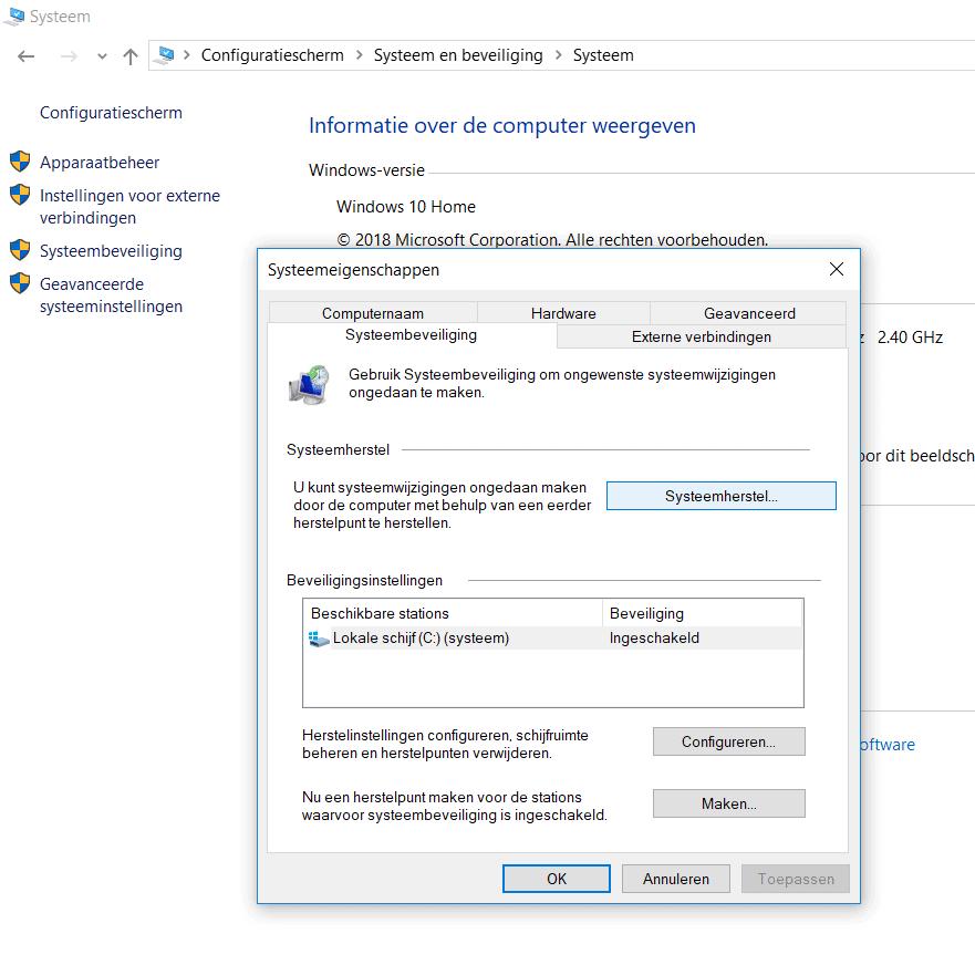 Systeemherstel in Windows 10 openen.