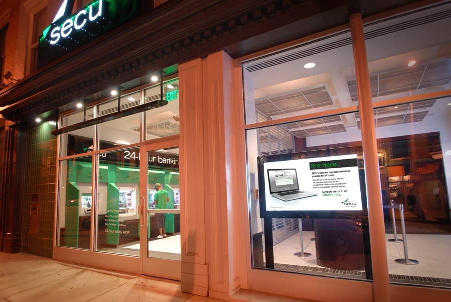 exterior view of lobby featuring digital sign