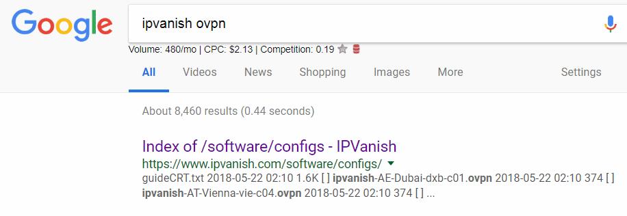 Use google to locate VPN configs