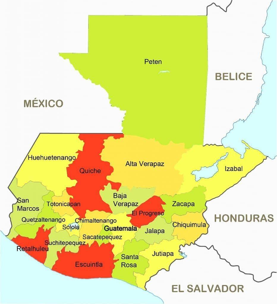 Quiché en el mapa departamental de Guatemala