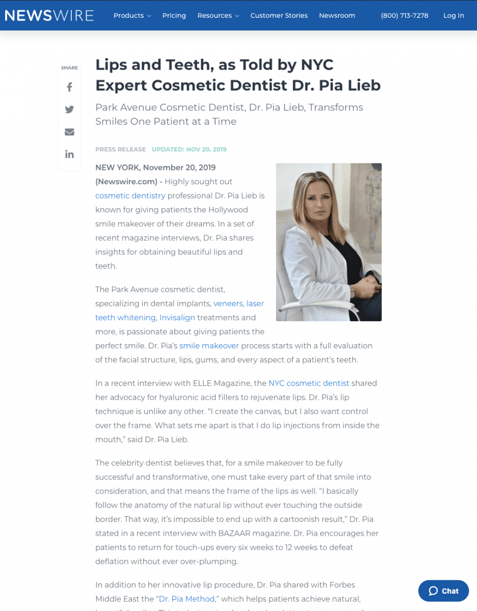 Link to a Newswire article about how Cosmetic Dentist, Dr. Pia Lieb, Transforms Smiles.