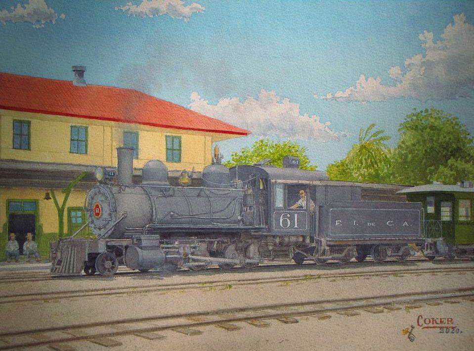 Pintura de John Coker del Ferrocarril de Norte en Zacapa