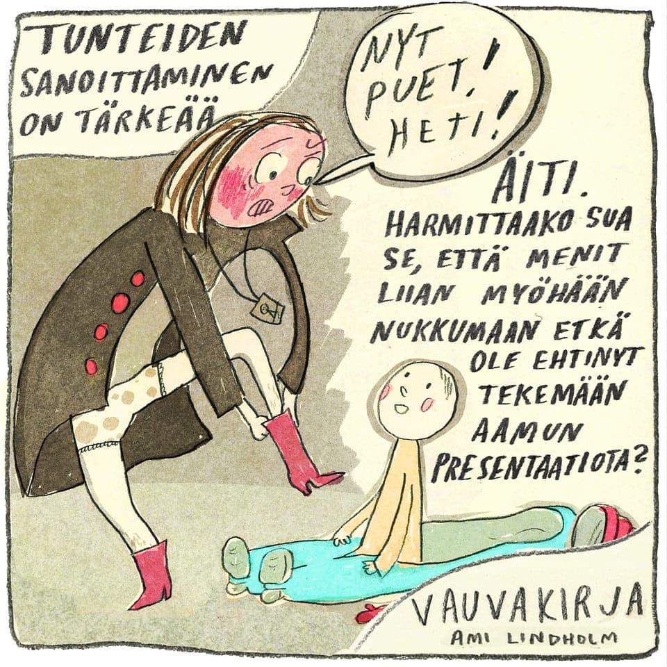 Kuvittaja Ami Lindholm ja 10 kuvitus kuvaa äänestys. Äänestä mieluisin kuva. Teoksen nimi on Tunteiden sanoitus.
