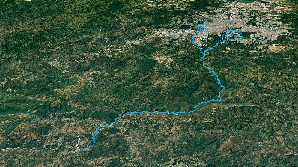 Curso del río Las Vacas desde su nacimiento en Ciudad de Guatemala hasta su desembocadura en el Motagua