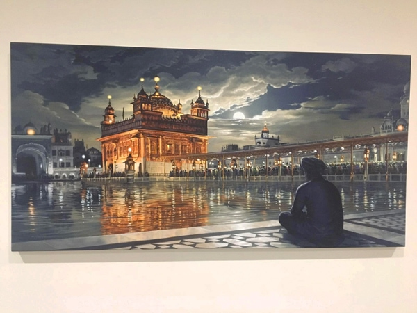 Golden Temple Canvas, Meditations under the Moonlight, by Bhagat Singh, Sikhi Art, Diljit Singh Bhatia Collection