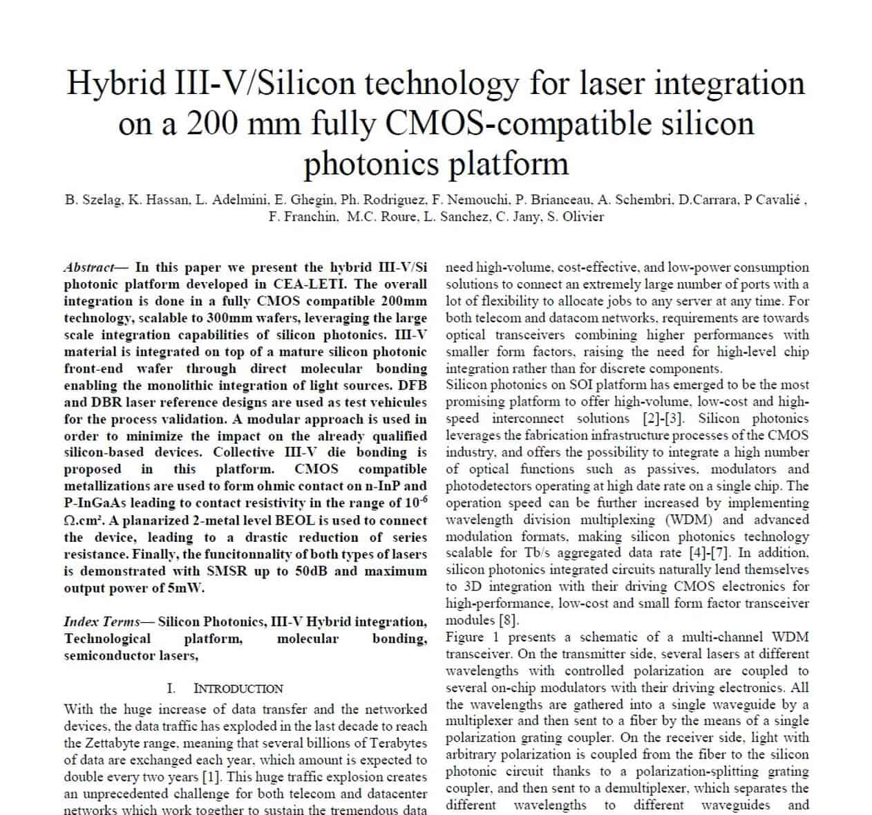 Hybrid III–V/Silicon Technology for Laser Integration on a 200-mm Fully CMOS-Compatible Silicon Photonics Platform