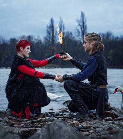 romantische Duo mittelalter Feuershow im Vikingsstil bei den Isteiner Schwellen, zwischen Freiburg (im Breisgau) und Basel für Hochzeit, Geburtstagsfeier und Firmenfeier