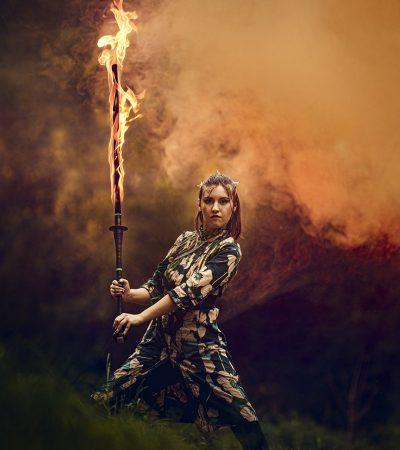 Feuershow Stuttgart buchen Feuerschwert asian warrior princess klein