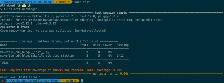 You can see that the test succeeded but the command failed