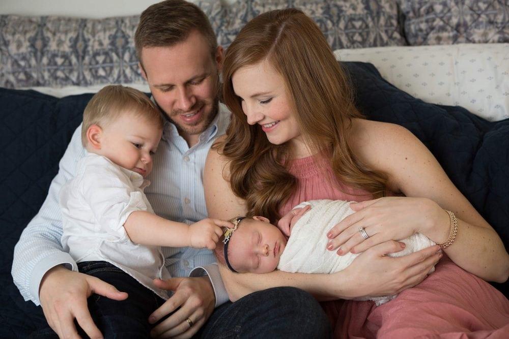 family photo newborn baby sister big brother at home San Antonio, Texas