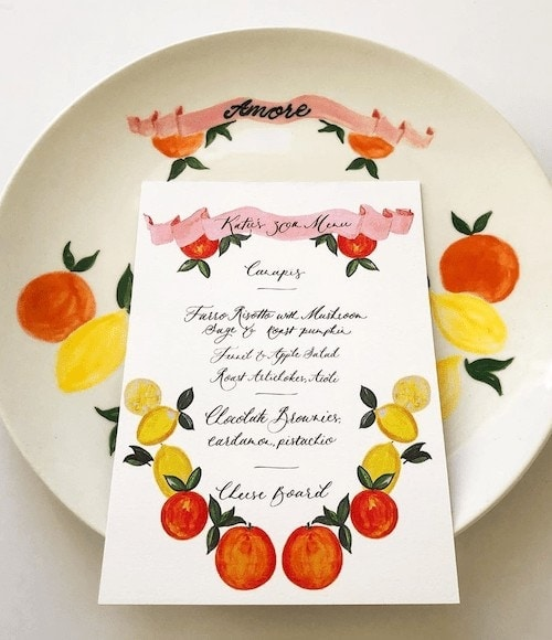 ILLUSTRATED MENU & PLATE DESIGN, PRIVATE PARTY