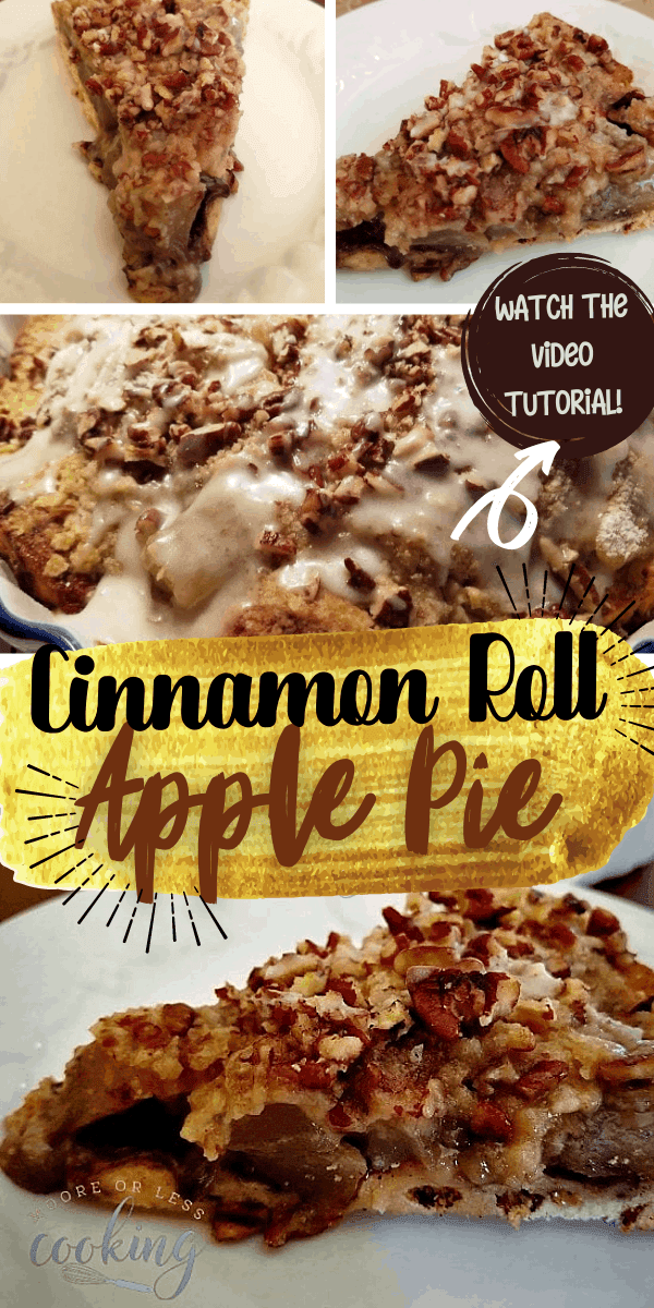 Cinnamon Roll Apple Pie: The only thing better than apple pie is apple pie with a cinnamon roll crust! This easy recipe only takes 20 minutes to prepare and can be served for breakfast or dessert or both! #mooreorlesscooking #applepie #cinnamonroll #dessert #easy via @Mooreorlesscook