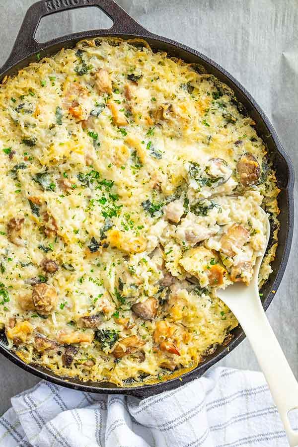 One Pan Chicken and Creamy Mushrooms Casserole