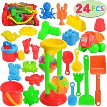 7. JOYIN 24 Pcs Beach Sand Toys Set