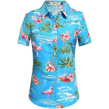 3. SSLR Women's Flamingos Floral Casual Short Sleeve Hawaiian Shirt