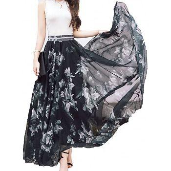6. Afibi Women Full/Ankle Length Blending Maxi Chiffon Long Skirt Beach Skirt