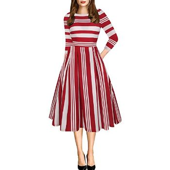 9. Oxiuly Women's Vintage Patchwork Pockets Puffy Swing