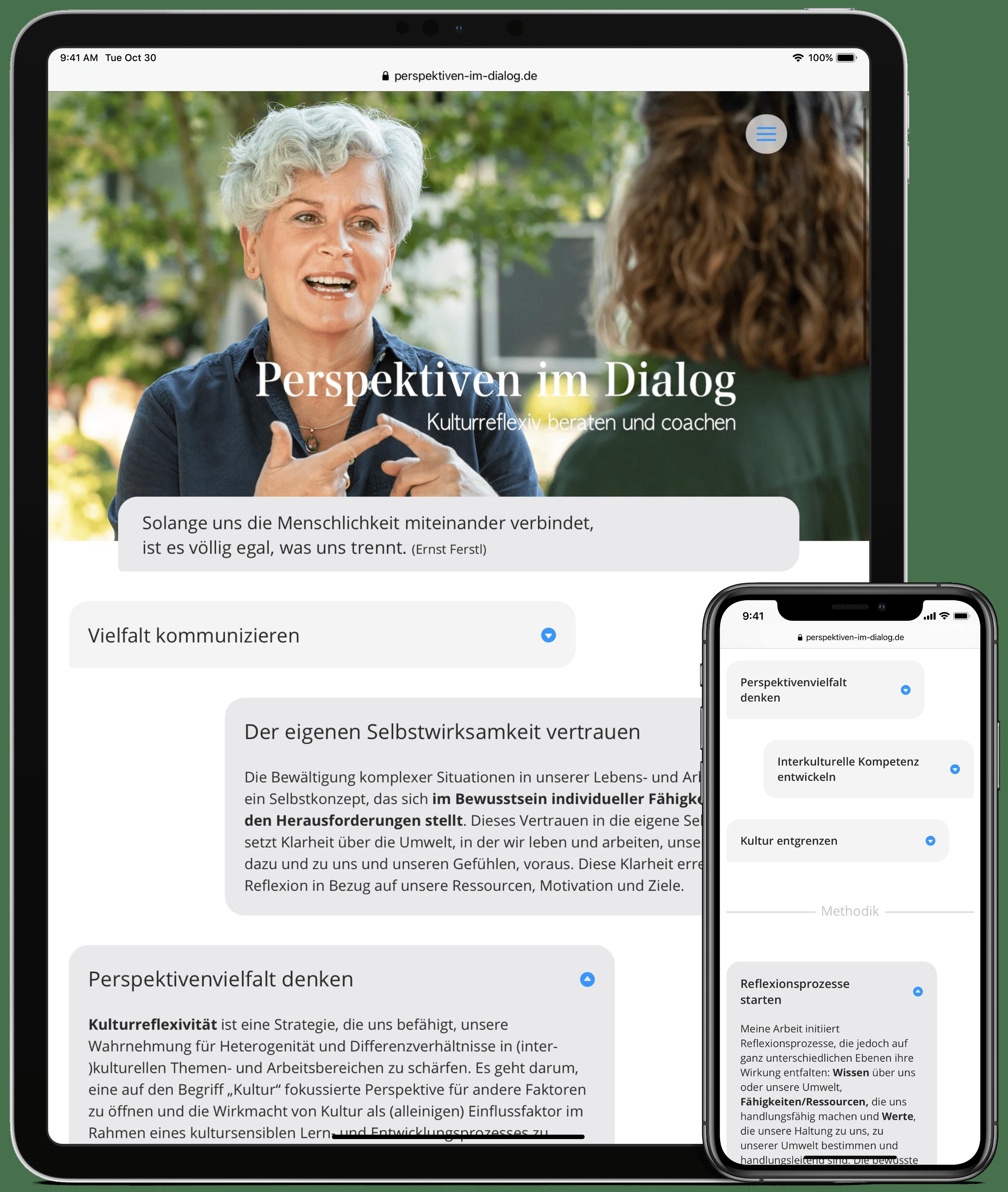 Website von Perspektiven im Dialog auf einem Tablet bzw. einem Smartphone mit Ansicht der Startseite bzw. der Methodenübersicht.