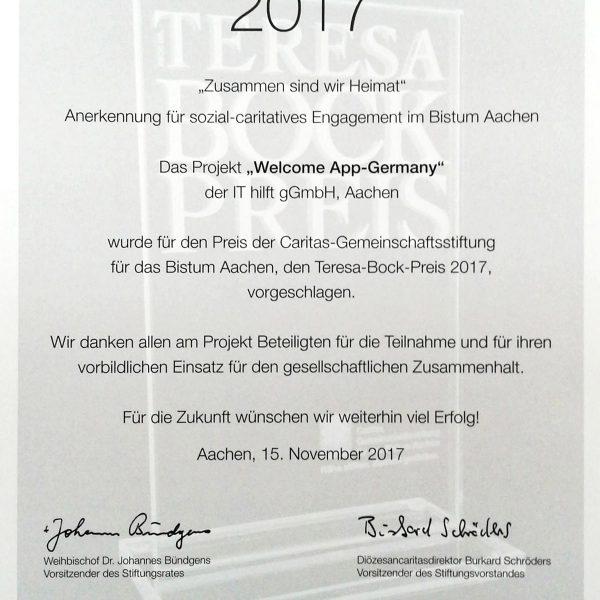 Würdigung der Welcome App durch Caritas Aachen