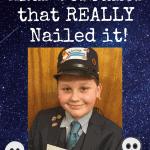 boy dressed as Amtrak train conductor for halloween