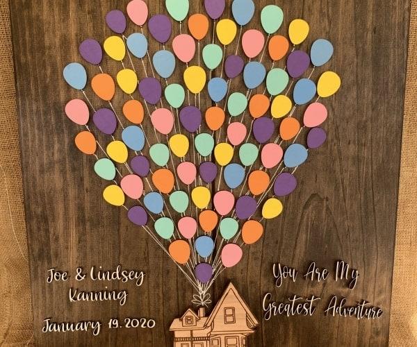 Lasercut 'UP' theme home Wedding Date guestbook wedding keepsake