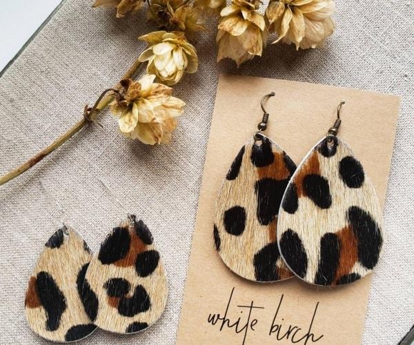 Leopard Print Leather Earrings