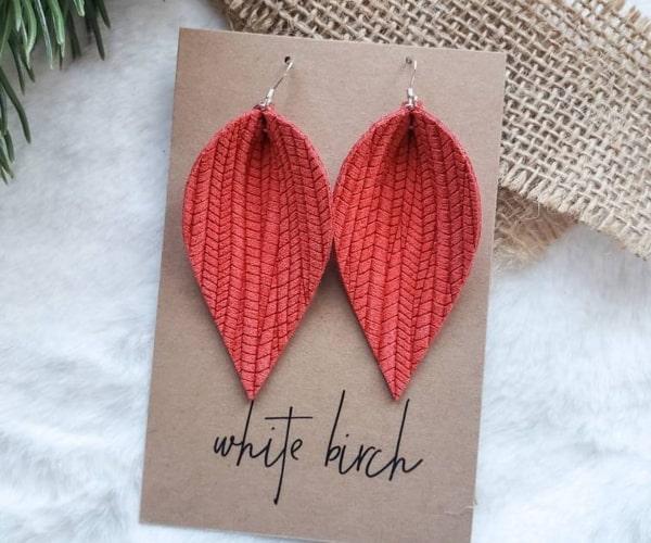 Textured Leather Teardrop Earrings