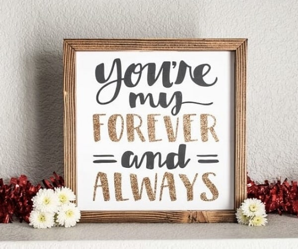 Love quote sign, glitter sign for wall, you are my forever and always sign wood sign with hand painted quote and glittery accents. The frame is made from pine and is stained a dark walnut brown