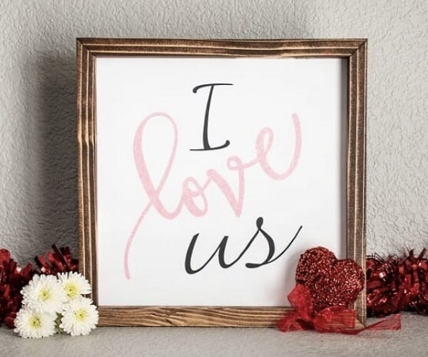 Love quote glitter sign for wall I Love Us quote wood sign with hand-painted quote and glittery accents. Pine wood frame dark walnut brown stained