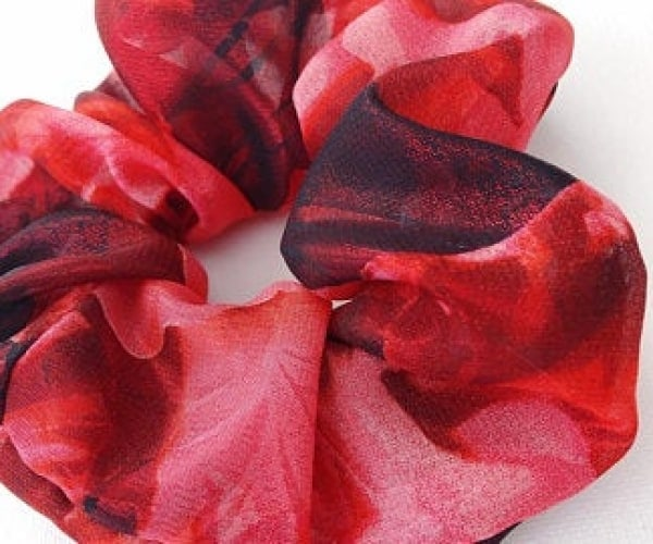 Large Red Floral Scrunchie, Valentine's Day Hair Accessories, Valentine's Day Gift for Her, Floral Hair Accessories, VSCO Girl Gifts