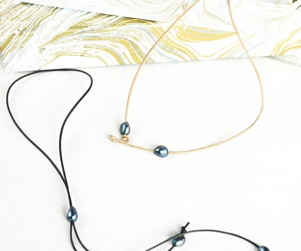 Leather pearl lariat slide necklace, Bridal Jewelry, 3rd Anniversary, June Pearl Graduation Gift,