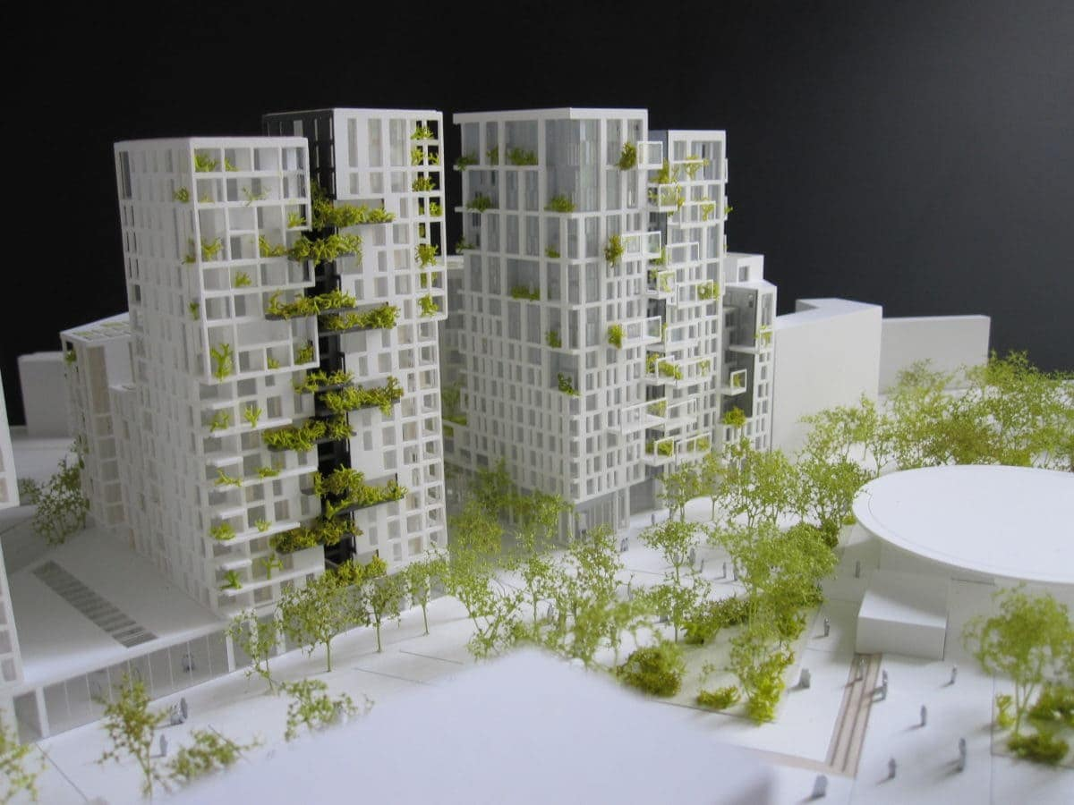 maquette de concours de logements et commerces à Bagneux par les architectes Marc Mimram et Brenac et Gonzales au 1/500ème