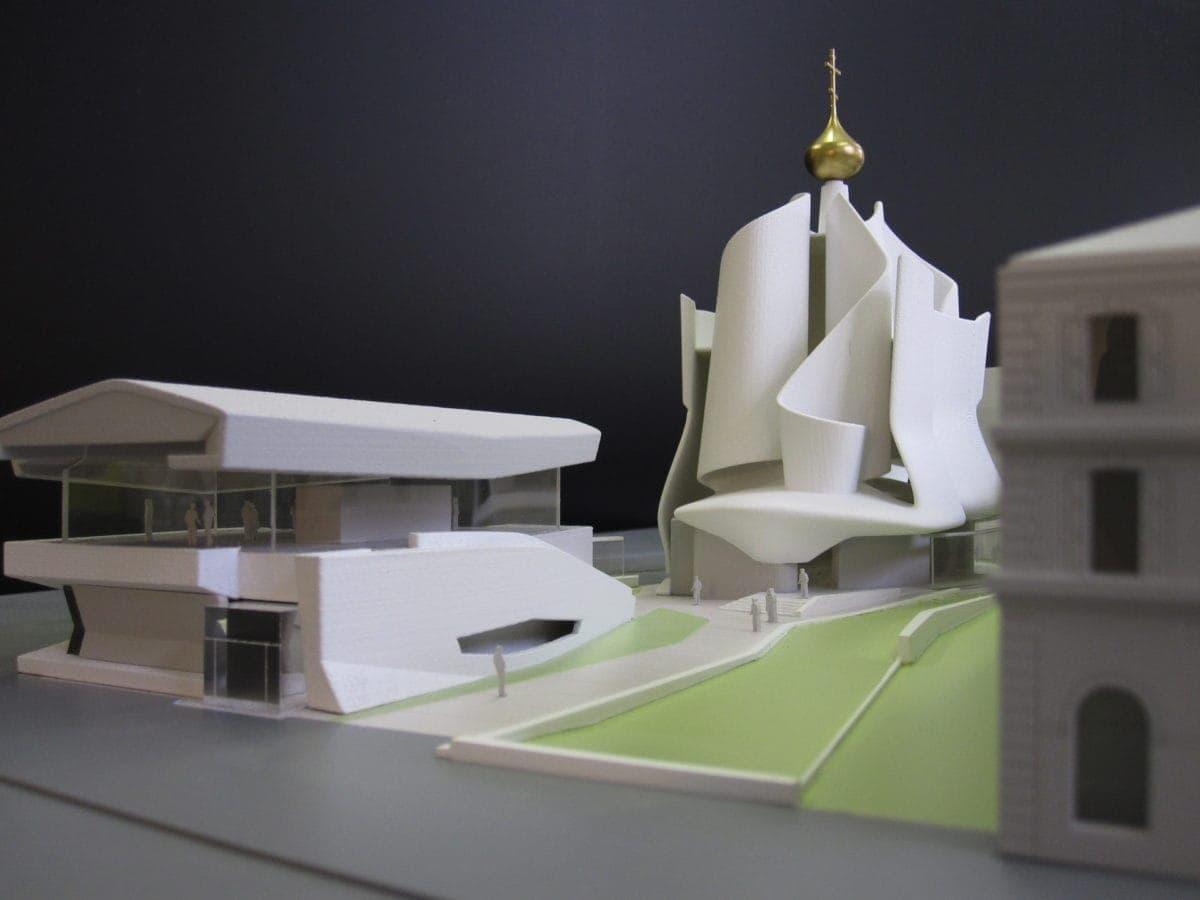 maquette de concours pour l'église orthodoxe et centre culturel par Frédéric Borel au 1/200ème