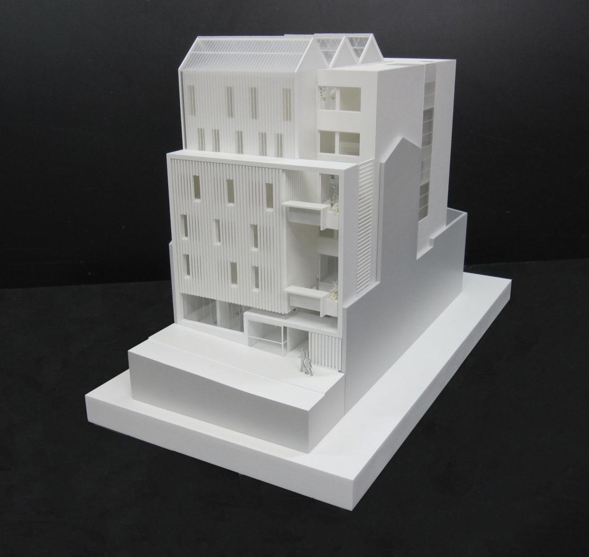 maquette de logements étudiant dans la rue Piat à Paris pour réinventons paris,La Sablière à l'échelle 1/100ème