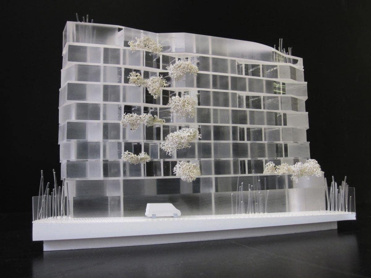 maquette de logements étudiants par XTU architectes au 1/200ème