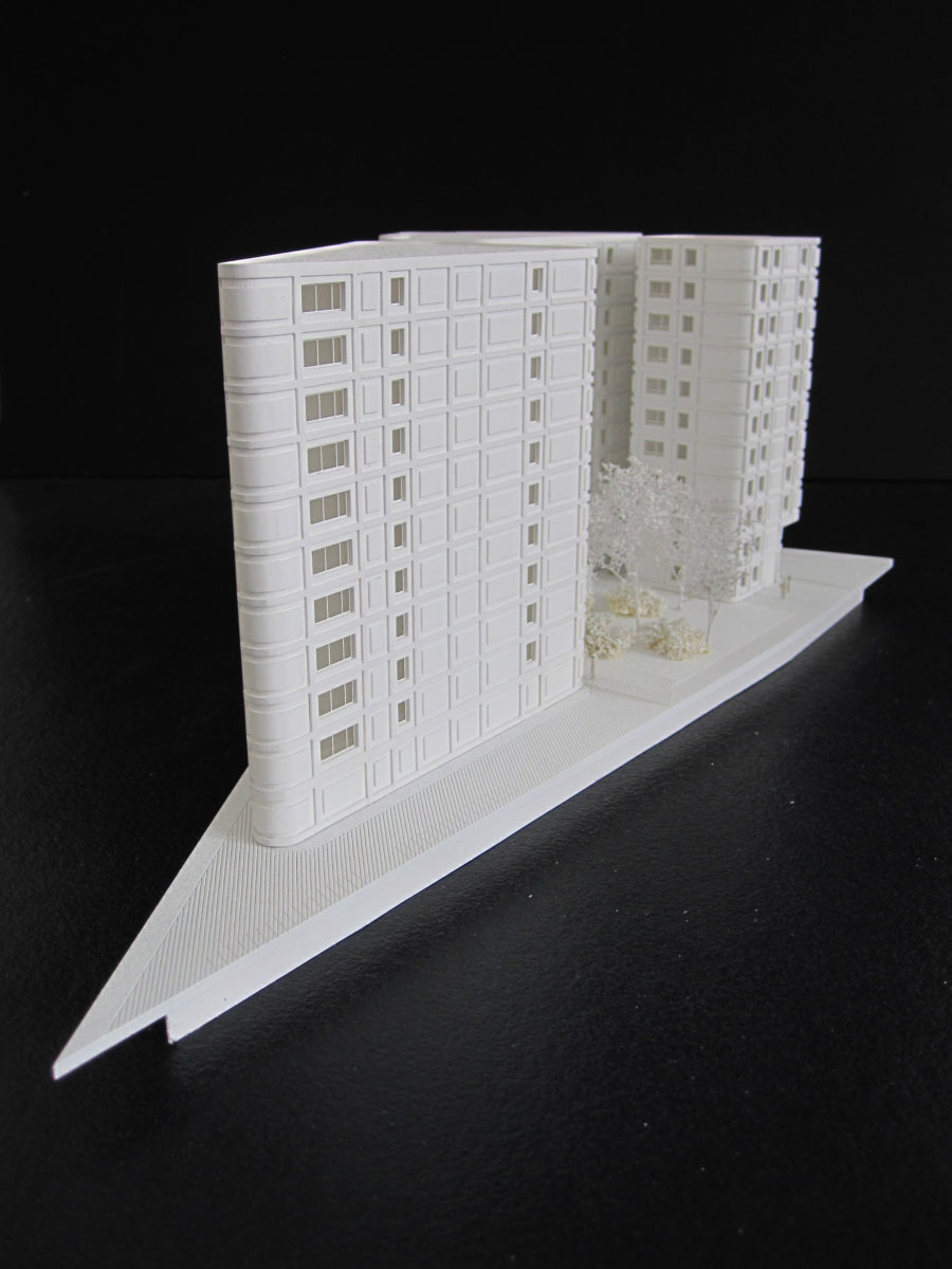 Maquette blanche de logements au Batignolles à Paris par Louis Paillard