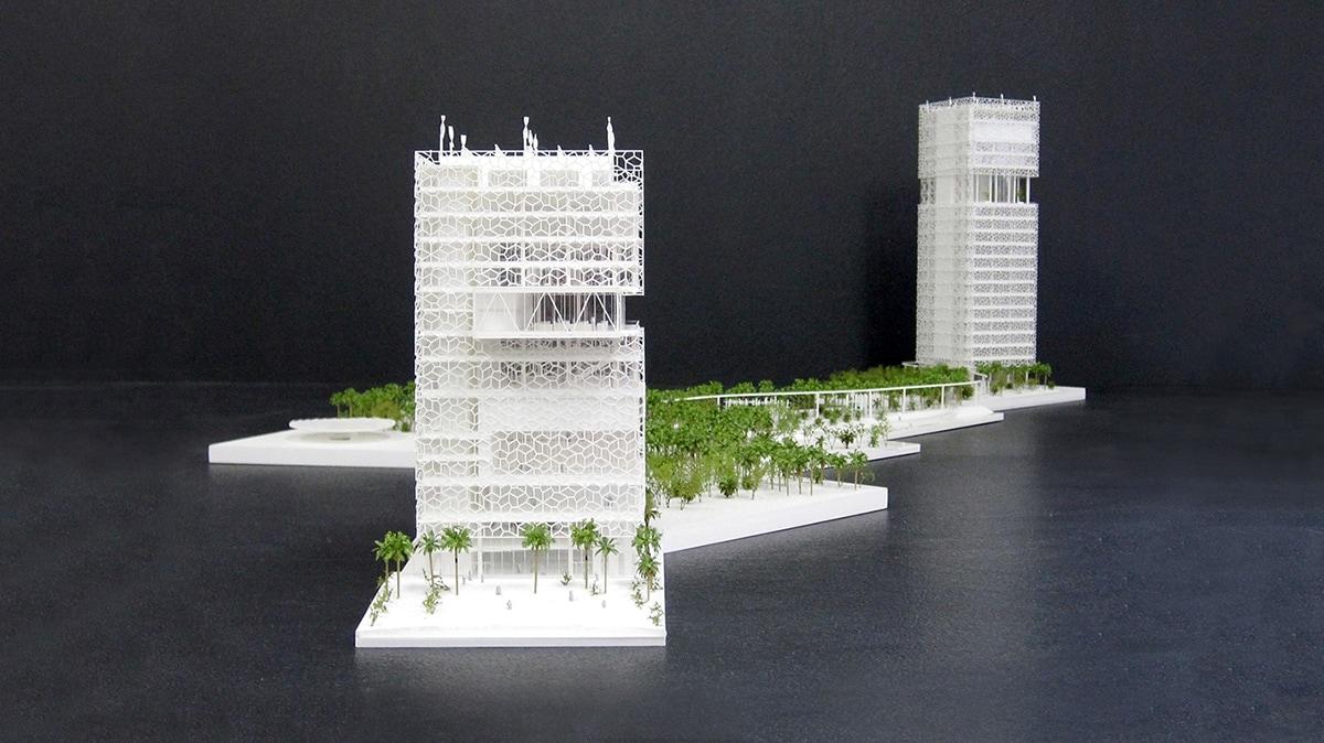 Maquette blanche du centre de conférence et siège social pour KFAS au Koweït par Petitdidierprioux architectes