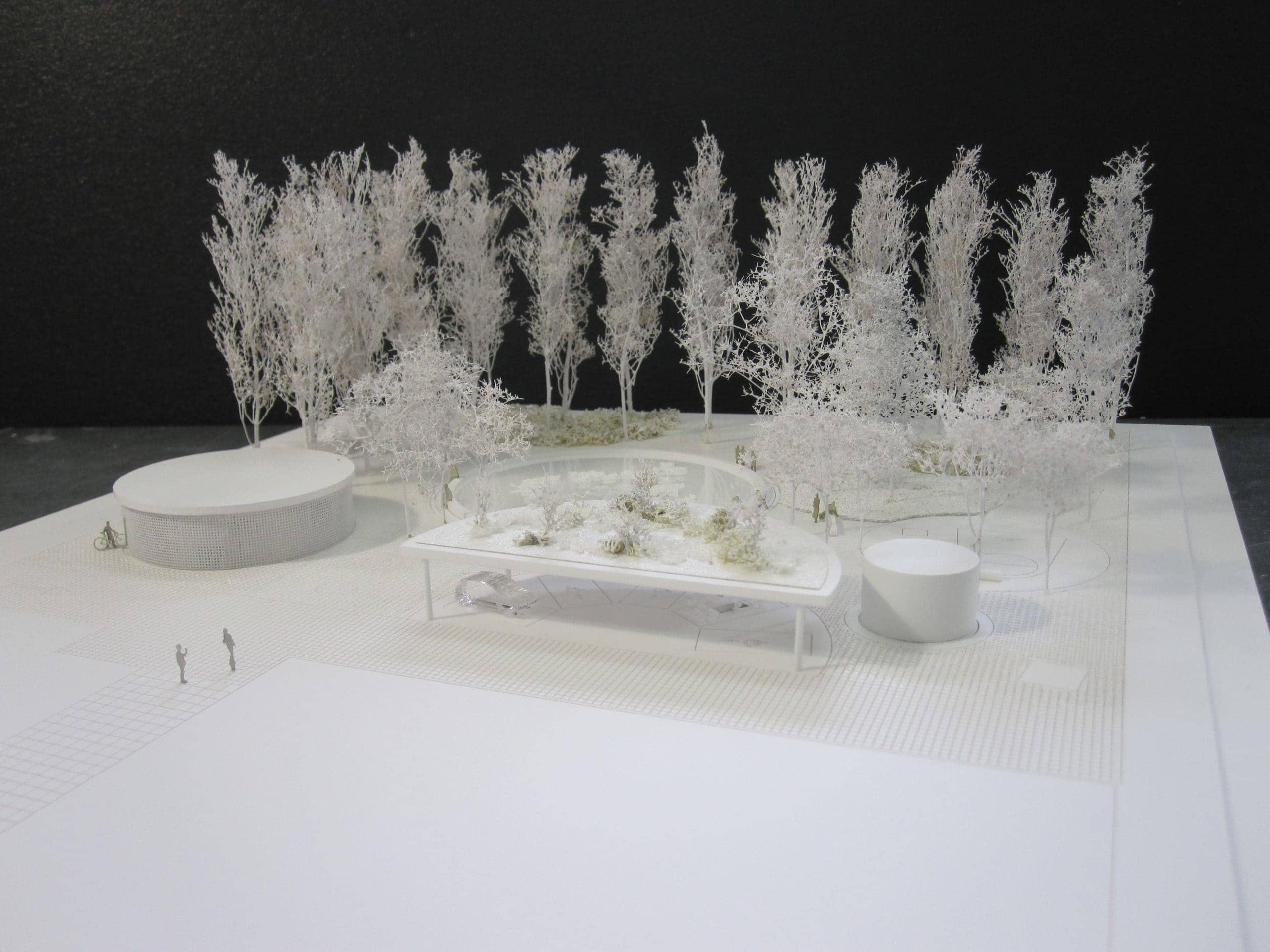 Maquette à socle plat avec représentation du trottoir