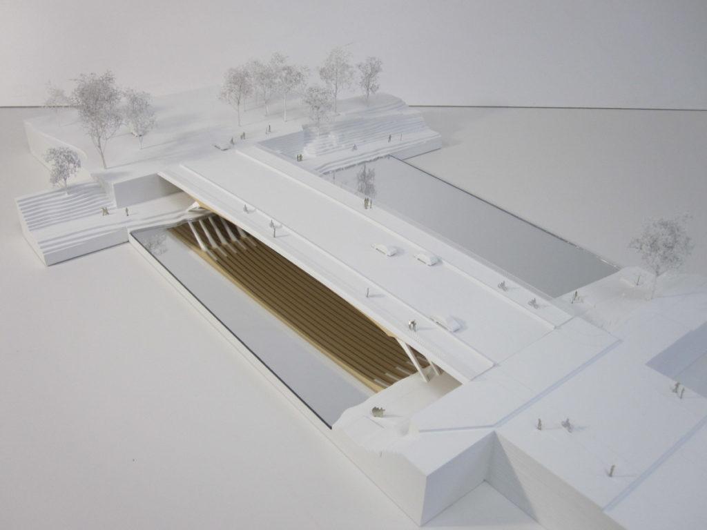 Maquette d'urbanisme du pont de Ulm par Explorations architecture