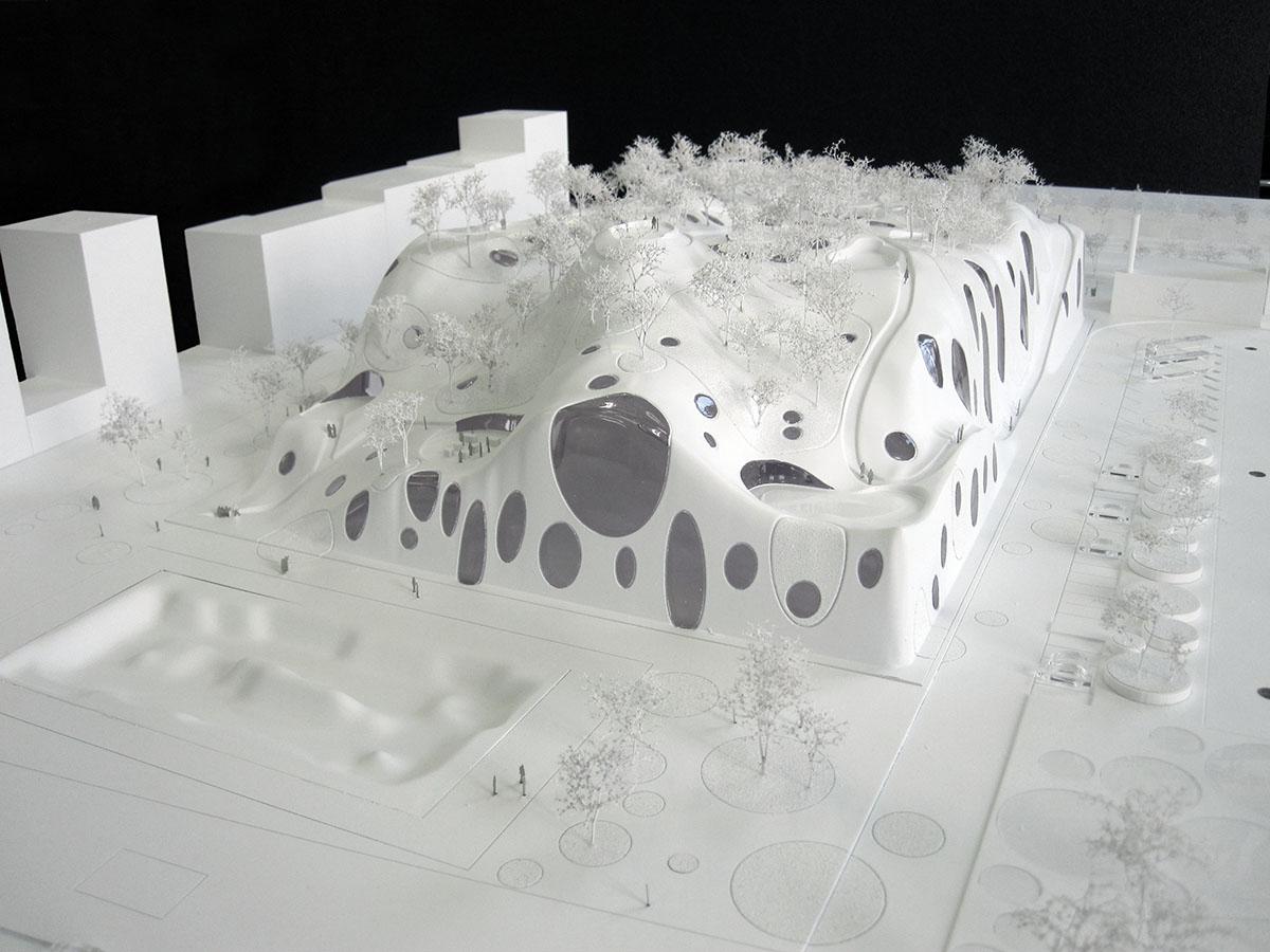 Maquette de la piscine olympique pour les jeux 2024 par MVRDV architectes