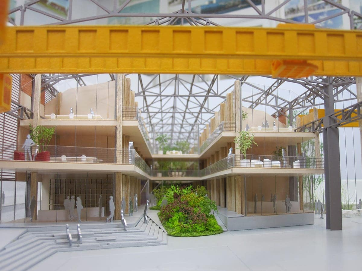 Intérieur de la maquette de la grande halle des grandes serres de Pantin