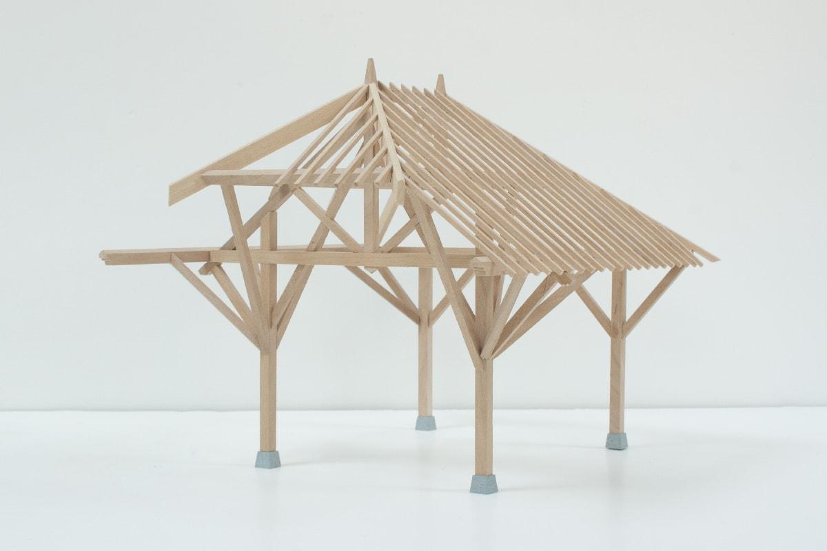 Maquette en bois, principe de charpente
