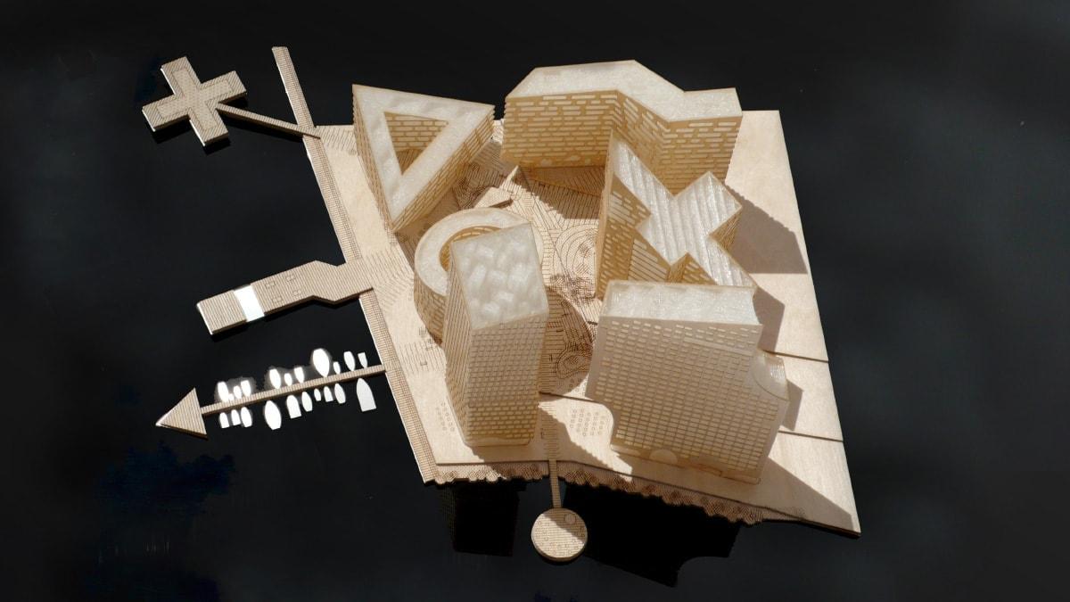 Maquette en bois de logements à Stockholm, projet Marievik 15 par Louis Paillard