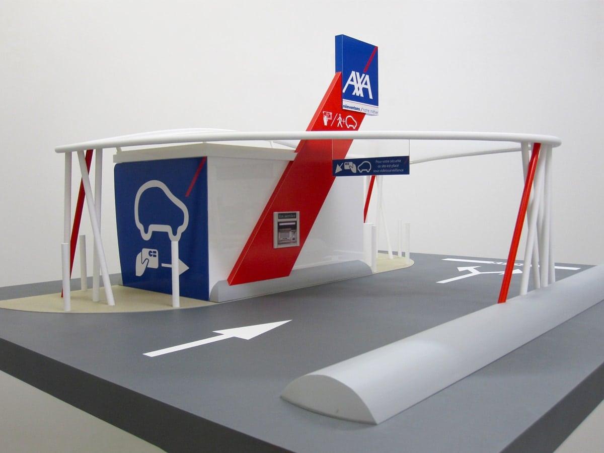Maquette prototype d'un distributeur automatique drive pour AXA par Sem Bice