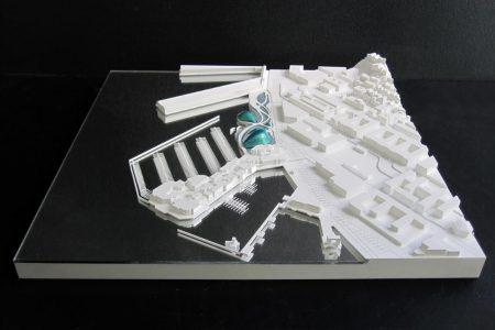 maquette d'urbanisme blanche de l'ecotarium à San Francisco, XTU architectes, 1/2000